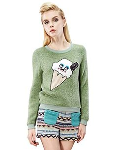Elf Sack Womens Autumn T-shirt Cartoon Ice-cream Cone Applique Nail Bead Large Size Green