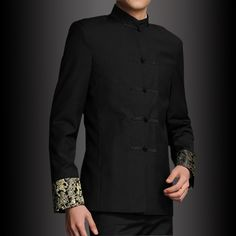 business and leisure chinese stand-collar tunic male costume youth dress wedding dress suit men Thumbnail Wedding Dress Suit, Dress Suits, Wedding Suits, Formal Wedding, Chinese Suit, Suit Fashion, Mens Fashion, Formal Dresses For Weddings, Chinese Clothing
