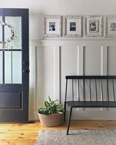 Farmhouse Entry- love the board and batten with picture rail. Maybe on wall to the left of door? Farmhouse Entry- love the board and batten with picture rail. Maybe on wall to the left of door? Apartment Entryway, Entryway Decor, Entryway Ideas, Apartment Interior, Rustic Farmhouse Entryway, Farmhouse Interior Doors, Entry Hallway, Entrance Hall, Foyer Decorating