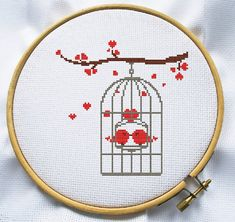 Counted cross stitch pattern, Instant Download, Free shipping, Cross-Stitch PDF, Bird in cage, valentine's day pattern