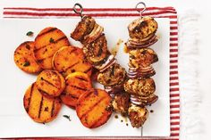 Mustard-Glazed Pork Skewers With Grilled Sweet Potatoes