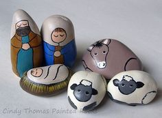 Small Teal-Royal Decorative Stone Nativity Set - Unique Nativity Sets | Nativity Scene Figures | Painted on Rocks and Stones
