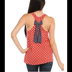"""2 X HOST PICKBOW POLKA DOT TANK TOP JUST TIME FOR THE 4TH OF JULY!! BOW DETAILED POLKA DOT TANK TOP.... IN RED WHITE & BLUE...95% RAYON...5% SPANDEX...NWT...COMES IN SM...MED...LG....PLEASE DONT PURCHASE THIS LISTING , I WILL MAKE YOU A SEPARATE ONE TO PURCHASE...OFF DUTY STYLE HOST PICK 6-16-2015chosen by @keriskloset  WEEKEND WARRIOR """"""""HP"""" 8-8-2015 Tops Tank Tops"""