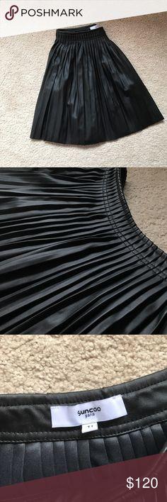 Suncoo Paris leather like pleated skirt Never worn Skirts Circle & Skater