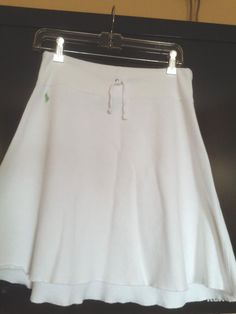RALPH LAUREN White Athletic Cotton Terry Skirt w Drawstring SZ Small Excel Cond. #RalphLauren #AthleticDrawstringAline