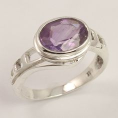 925 Sterling Silver Trendy Fashion Ring Size US 7.75 Natural AMETHYST Gemstone #Unbranded