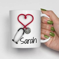 Personalized Stethoscope, Personalized Travel Mugs, Funny Cups, Weird Gifts, Clay Mugs, Doctor Gifts, Romantic Gifts, Polymer Clay Crafts, Nurse Gifts