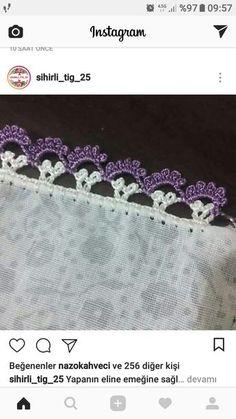 Crochet Boarders, Crochet Lace Edging, Filet Crochet, Diy Crochet, Crochet Flowers, Beaded Embroidery, Hand Embroidery, Crochet Designs, Crochet Patterns