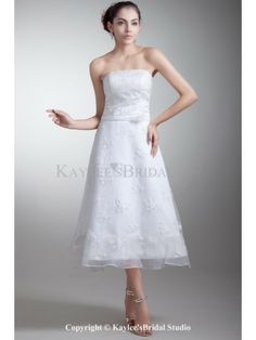 Organza and Satin Strapless Neckline Tea-Length A-line Embroidered Wedding Dress