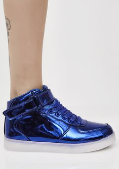 Sapphire Chrome Invader Light Up Sneakers 'cuz ya come thru with the intergalactic space steez. These rad sneakers have a comfy footbed with a shiny metallic material and dope light up soles.