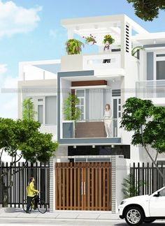 Thiết kế nhà phố 3 tầng 3 phòng ngủ Flat House Design, Brick House Designs, Narrow House Designs, Duplex House Design, Kerala House Design, House Front Design, Modern Bungalow House, Townhouse Designs, House Elevation