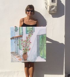 Potted Bougainvillea - Greek village house with sunny bougainvillea - quality giclee print on stretched cotton canvas Life Sketch, Small Canvas, Watercolour Painting, Cotton Canvas, Giclee Print, Old Things, Artsy, Sketches, Canvas Prints