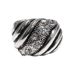 """Fashion Textured Ring; 0.75""""; Burnished Silver Metal With Clear Rhinestones; One Size Fits Most; Eileen's Collection. $19.99"""