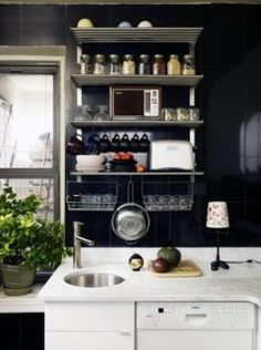 Small Black White Kitchen with Open Shelving Design