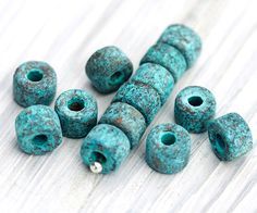 20 Pc Greek Mini Tubes, Spacer Beads, Tube Beads, Antique Jewelry Supplies, Copper and Green Patina, Greek Mykonos Beads, 6 x 4 mm – MK157 by TreeTerracom on Etsy