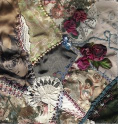 I ❤ crazy quilting & ribbon embroidery . . . Victorian Crazy- Roses from self-colored silk ~By Helena Geitel