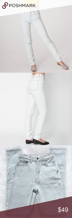 """american apparel light wash high waist jean American Apparel Light Wash High Waist Jean  Vintage inspired high rise mom jean featuring a straight leg that tapers in at the ankle. Crafted from rigid, light wash 14 oz denim for a more authentic, vintage fit and feel. American Apparel's best selling jean. Everyday staple.  materials • 100% cotton wash • bleachy light blue (almost white) style • RSADM304  {measurements: flat, approx} inseam 33"""" rise 12"""" leg opening 6"""" American Apparel Jeans…"""