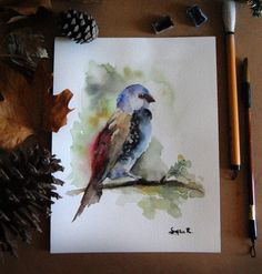Bird on Branch Original Watercolor Painting Signed by CanotStop