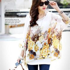 2015 New Fashion Women Summer Chiffon Floral Dress Clothing Plus Size 4XL 5XL 6XL Women's Cute Dresses Batwing Tops Tees