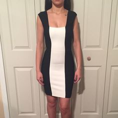 Bcbg black and white dress Worn once! Perfect condition BCBGMaxAzria Dresses