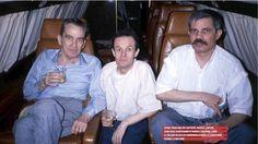 Roger Auque  Après trois ans de captivité, Marcel Carton, Jean-Paul Kauffmann et Marcel Fontaine, dans le Falcon 50 qui les ramènera à Paris le lendemain. France, 4 Mai 1988 © Roger Auque
