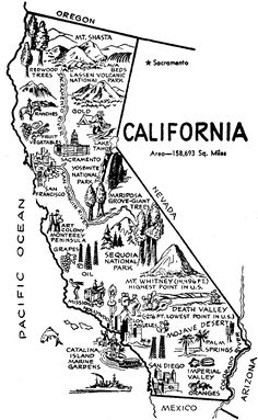 California Map Clip Art Clipart Best - Clipart Suggest California Missions, California Camping, California History, California Dreamin', Oregon, 4th Grade Social Studies, State Map, Geography, Road Trip