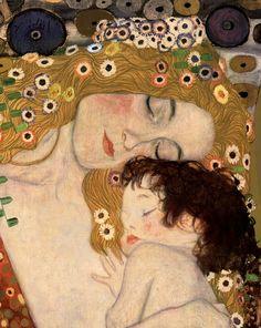 Zoom sur les visages de la femme et de l'enfant (Gustav Klimt, Trois âges de la femme, 1905).
