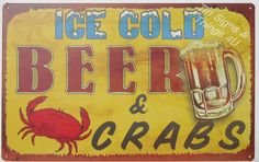 Beer and Crabs TIN SIGN funny vtg bar kitchen seafood diner metal wall decor OHW Beer Signs, Tin Signs, Metal Signs, Ventura Restaurants, Diner Decor, Low Calorie Drinks, Beer Humor, Beach Bars, Beer Bar