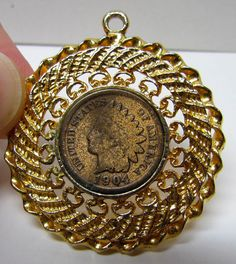 Collectable Vintage Gold Tone Pendant with 1904 Indian Head Coin - Costume Jewelry - Accessories by VINTAGEandMOREshop on Etsy https://www.etsy.com/listing/238366700/collectable-vintage-gold-tone-pendant