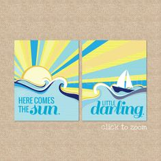 Here comes the Sun  Beatles Lyric Giclee Art Prints by PaperRamma, $35.00