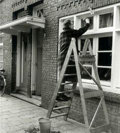 Ramen lappen op de houten trap
