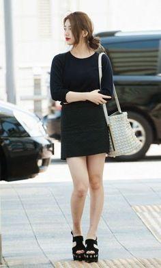 Black Long Sleeve Plain Top with Hair Bun Fashion of Bae Suzy