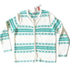 Teal, Turquoise and White Tacky Ugly Ski Sweater