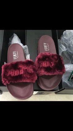 shoes velvet rihana fenty x puma puma fenty puma x rihanna puma burgundy rihanna fur slides Pumas Shoes, Shoes Sneakers, Shoes Heels, Vans Shoes, Cute Slides, Cute Sandals, Kinds Of Shoes, Comfy Shoes, Fashion Shoes