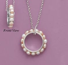 #LE1029-MMA, Cultured Freshwater Pearl Eternity Circle Pendant, Nathalie's Jeweler