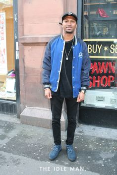 Men's Street Style   Retro Bomber - A retro letterman bomber is such a statement item. Let that be the stand out piece and keep the rest of your outfit simple with black jeans and -shirt.   Shop the look at The Idle Man