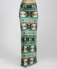 This Green & Tan Tribal Maxi Skirt - Women by BOLD & BEAUTIFUL is perfect! #zulilyfinds