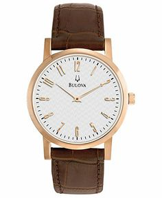 Bulova Watch, Men's Brown Leather Strap 38mm 97A106 - Men's Watches - Jewelry & Watches - Macy's