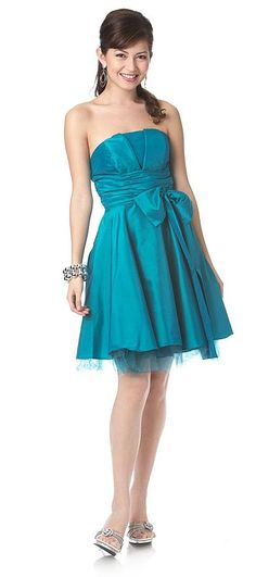 Teal Dress Bridesmaid Short Strapless Taffeta V Notch Tulle $79.99
