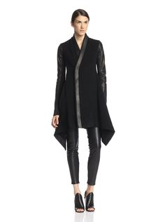 Rick Owens Women's Oblique Coat with Leather Sleeves at MYHABIT