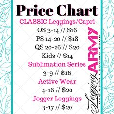 With our new active wear, we need a new price chart! Check out these cool spring colors for Legging Army! We love leggings!