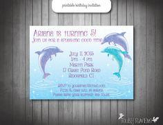 Dolphin Invitation, Pool party invitation, Swim party invitation- personalized