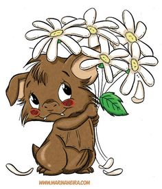 Marvin with Daisies DIGI STAMP by MarinaNeira on Etsy