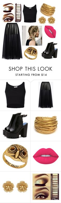 """""""Gold and Black!!!❤❤💞💞"""" by rozaliecooper ❤ liked on Polyvore featuring 321, Valentino, Black & Sigi, Lucky Brand, Lime Crime, Miriam Haskell and Urban Decay"""