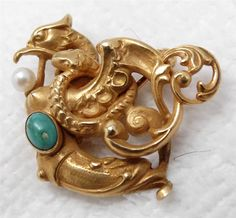 i adore this!  Antique Victorian 10K Turquoise Pearl Griffin & Serpent Pin