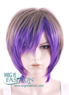 Short Straight Mixed Purple Pastel Ombre Fashion Wig MY008 - Wig Is Fashion