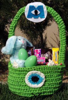 My Mike Wazowski Crochet Easter Basket sold on https://www.facebook.com/CrochetingSweetie