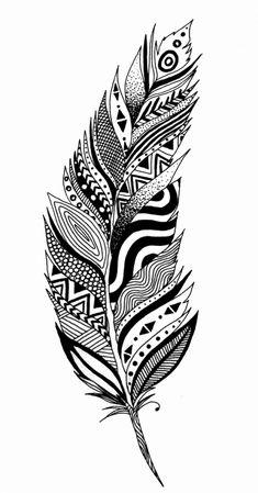 Doodle Art Drawing, Zentangle Drawings, Mandala Drawing, Mandala Sketch, Doodling Art, Doodles Zentangles, Feather Drawing, Feather Art, Mandala Feather
