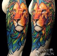 This colorful lion covering up scars from self-harm. | 20 Ridiculously Inspiring Tattoos That Will Make You Feel Things