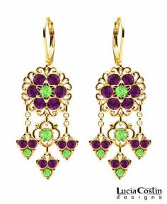Lucia Costin Chandelier Earrings with Set with Light Green and Violet Swarovski Crystals, Adorned with 4 Petal Flowers, Lace Details and Cute Charms; 24K Yellow Gold Plated over .925 Sterling Silver; Handmade in USA Lucia Costin. $78.00. Update your everyday style with inspiration when wearing this piece of jewelry. Lucia Costin earrings. Unique jewelry handmade in USA. A perfect feminine touch. Amazingly designed with peridot and purple Swarovski crystals